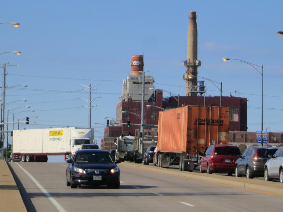 Truck traffic near coal plant