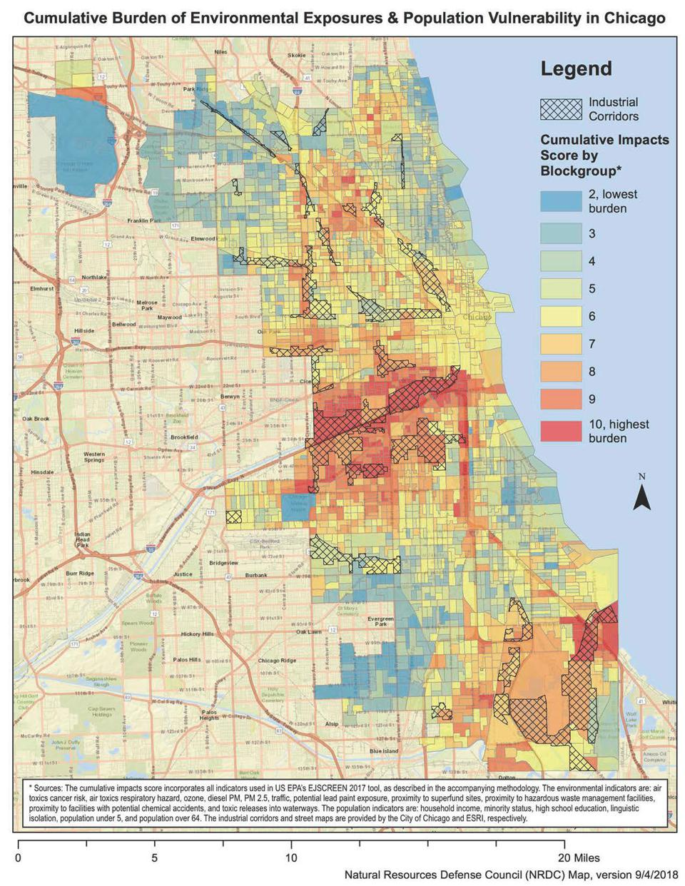 Map of air pollution and toxic waste risks in Chicago