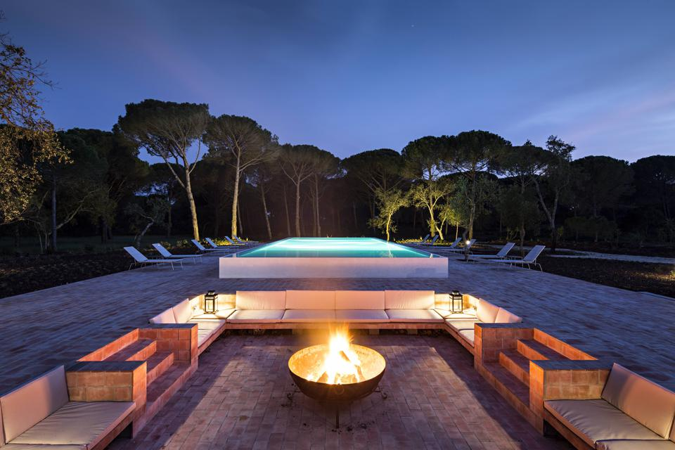 Fire pit and outdoor pool at Sublime Comporta, Portugal