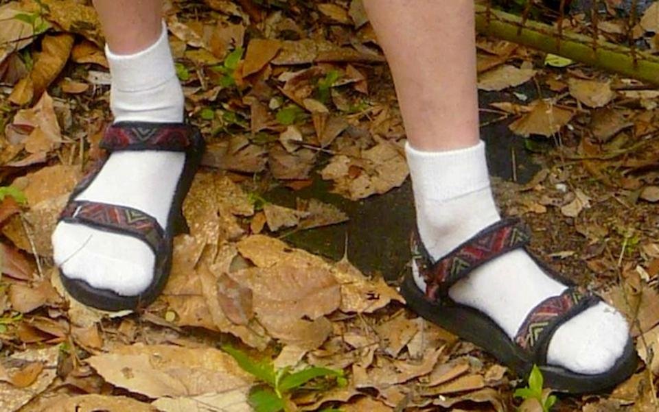 Socks and sandals worn together.