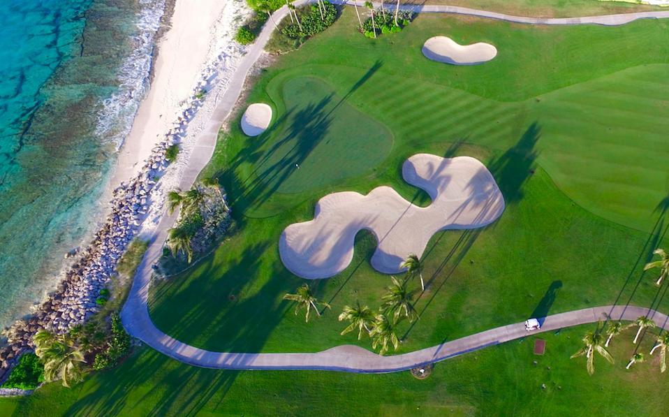 An aerial view of Tom Weiskopf's Ocean Club Golf Course at Atlantis, Paradise Island, Bahamas.