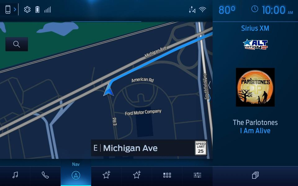 A landscape image of Sync 4 with CarPlay and Sirius XM operating in same screen.