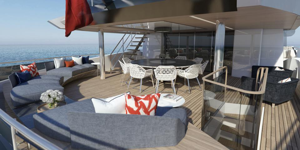The outdoor spaces on the new Sunseeker 161.