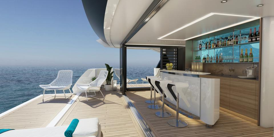 The beach club is the star of the Sunseeker 161 design.