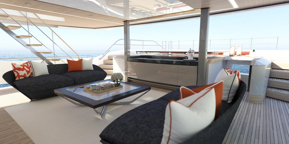 The covered deck space aboard the new Sunseeker 161