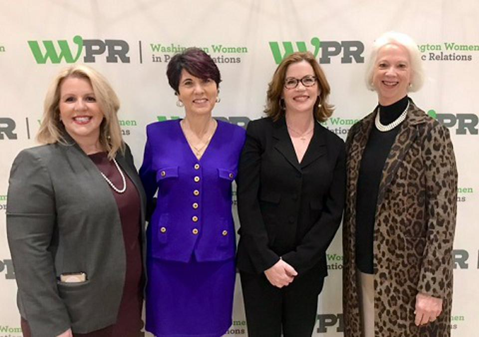 WWPR Women Of the Year 2019 Finalists: (l to r) KayAnn Schoeneman of Ketchum; Susan Waldman of Meals on Wheels America; and Maura Corbett of Glen Echo with Martha Boudreau of AAPR and past WOY awardee.