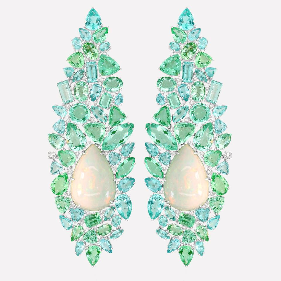 18K White Gold, Paraiba Tourmaline and White Opal Earrings by Sutra