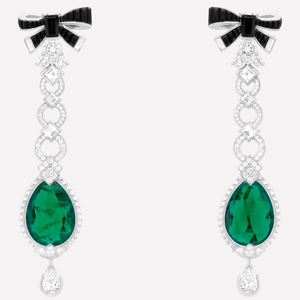 Bud of Love Earrings in Emeralds, Diamonds, Balck Spinel, and 18K White Gold by Van Cleef & Arpels