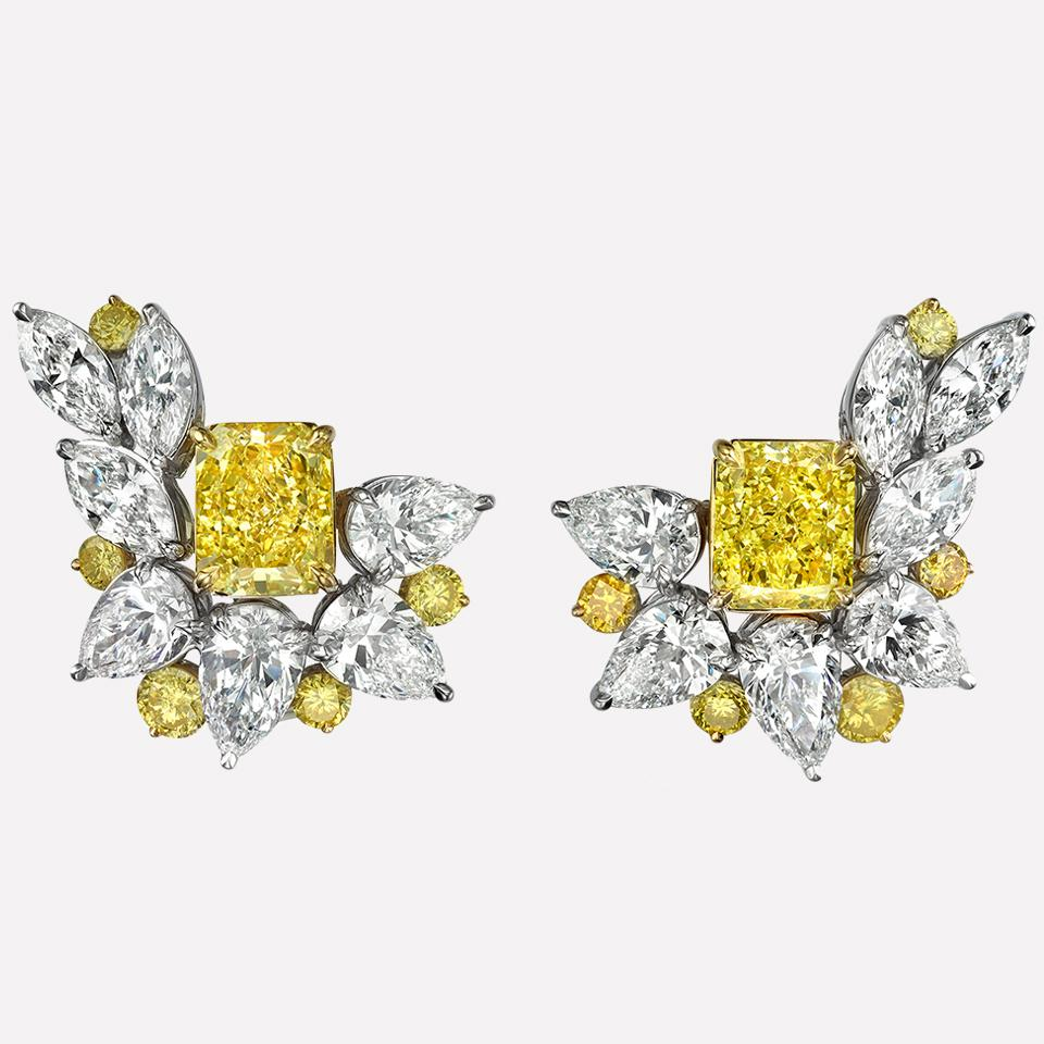 Limon Earrings in White and Yellow Diamonds by Edward Avedis