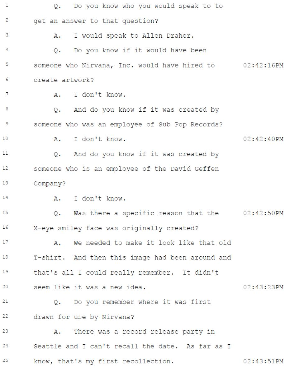 Page from September 10, 2019, deposition of Krist Novoselic