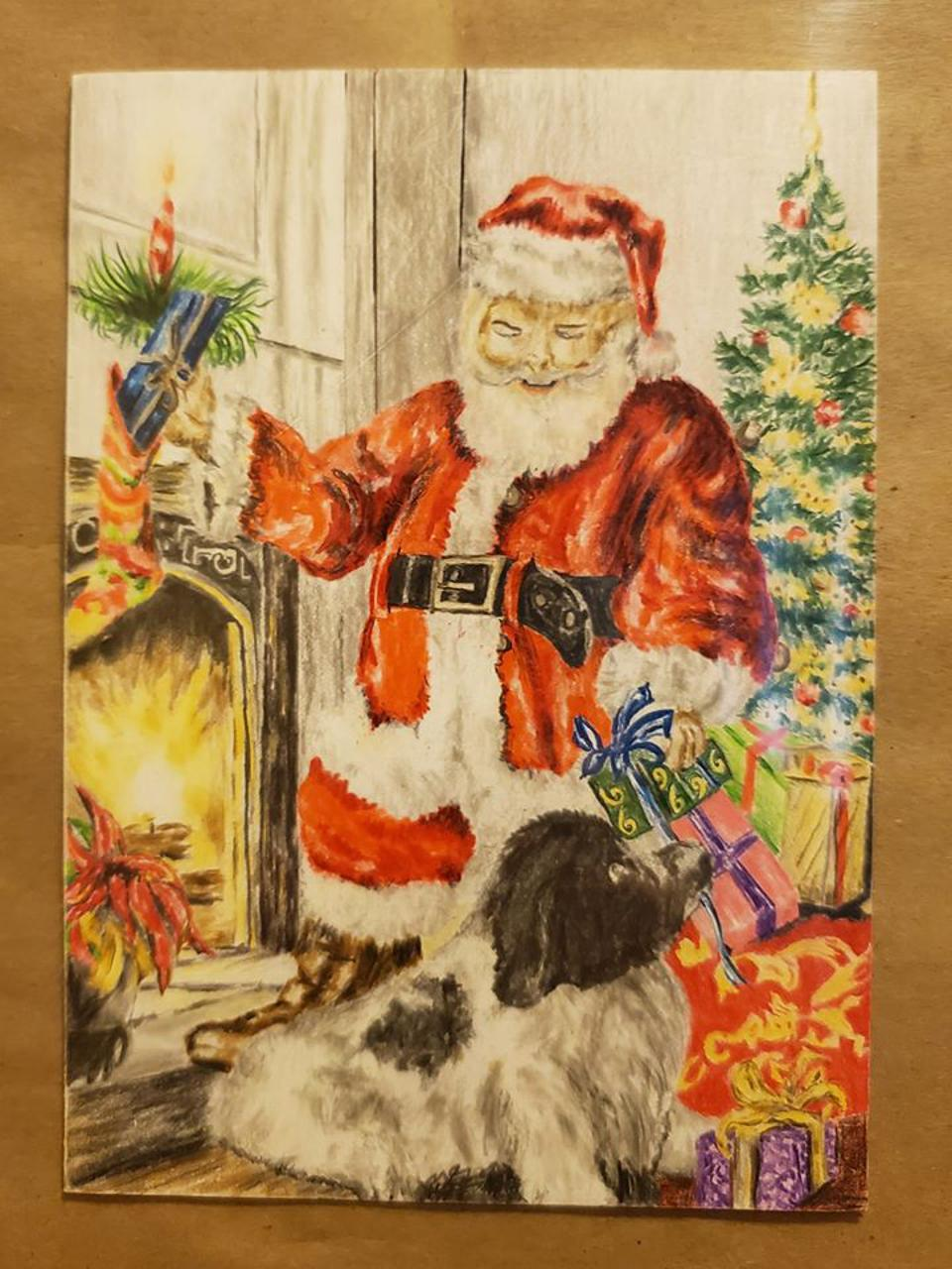 One of Ron James' hand made Christmas cards.
