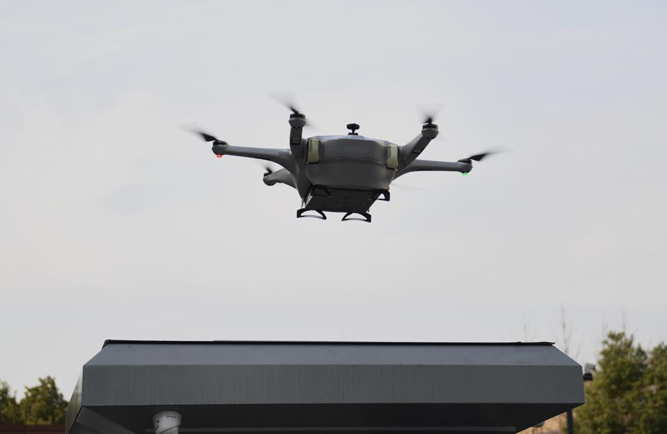 A 5G connected drone prepares to land while delivering food in Hangzhou, Zhejiang Province of China. Photo by Wang Gang/China News Service/Visual China Group via Getty Images