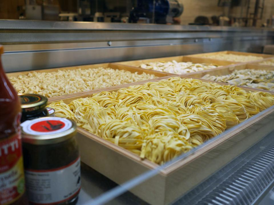 Pasta is available fresh and dried, made in house