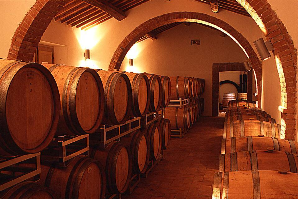 Barrique cellar at Fattoria Le Pupille