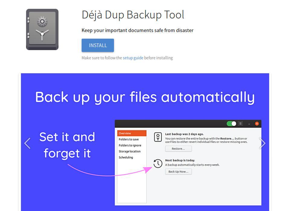 Deja Dup Backup Tool on FlatHub
