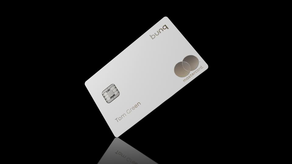 The new metal Green card launched by European challenger bank bunq.