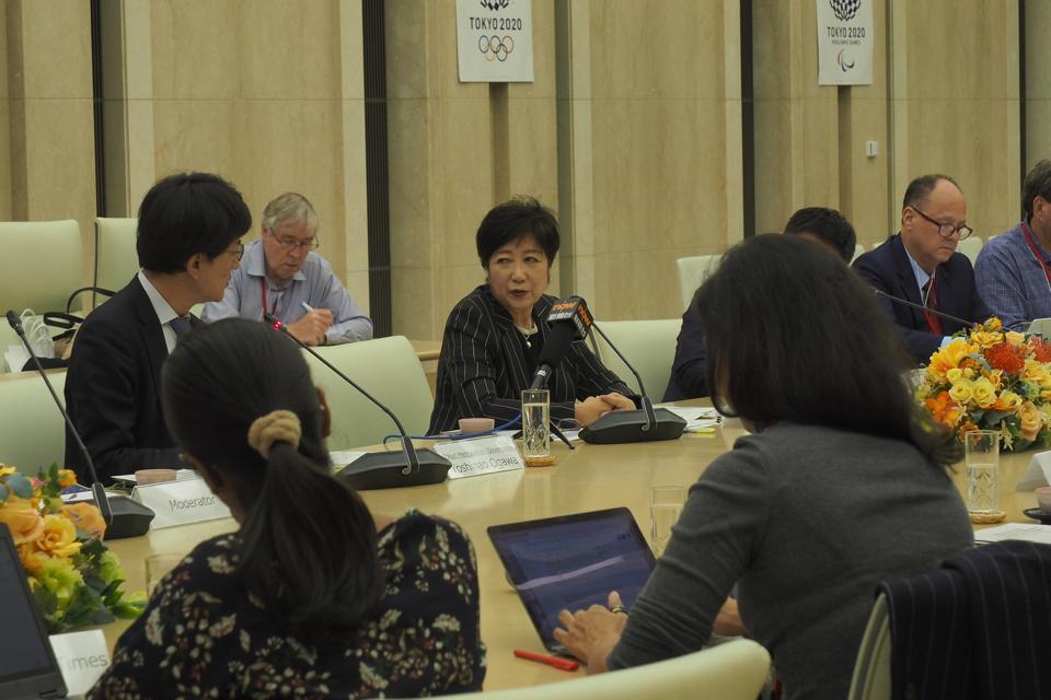 Tokyo Governor Yuriko Koike meets with foreign reporters