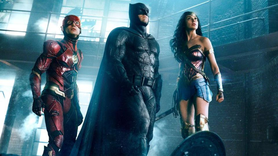 Ezra Miller, Ben Affleck and Gal Gadot in Zack Snyder and Joss Whedon's 'Justice League'