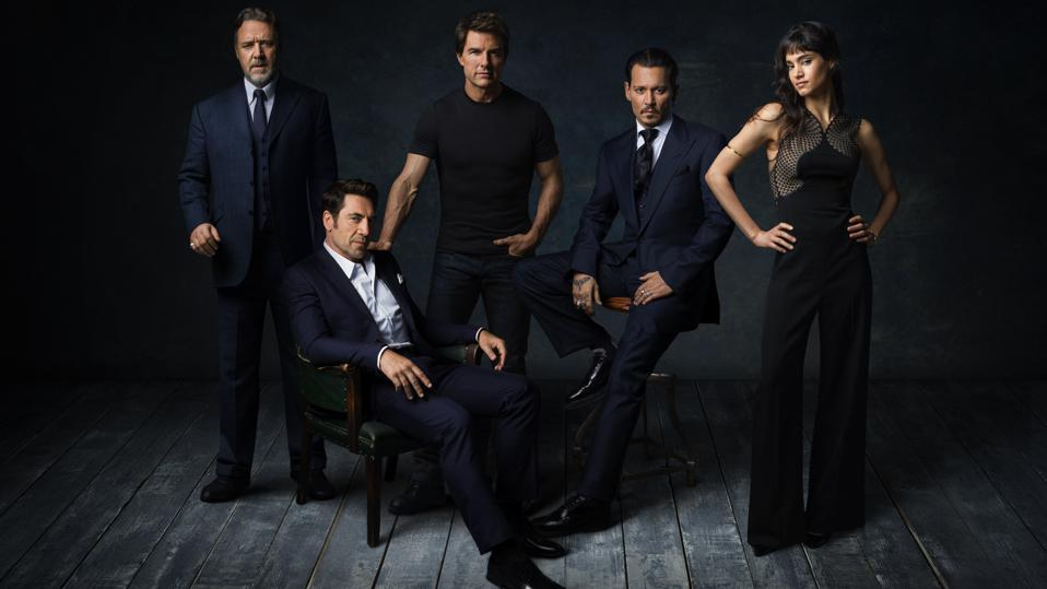 Russell Crow, Javier Bardem, Tom Cruise, Johnny Depp and Sofia Boutella promoting Universal's late ″Dark Universe.″