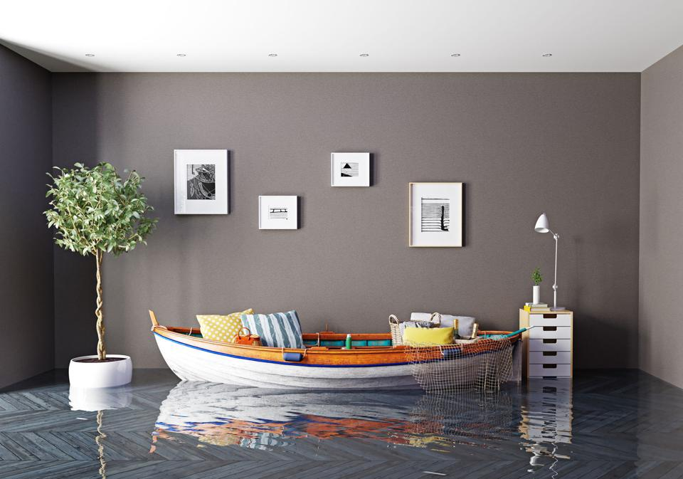 Boat sofa in flooded room.