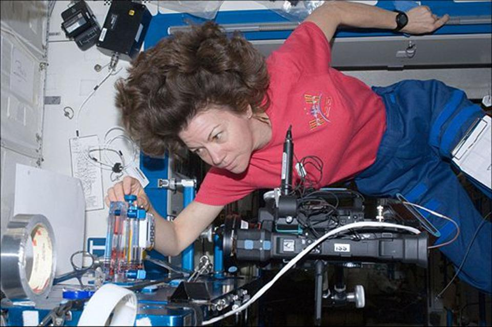 NASA astronaut Cady Coleman performs an experiment in space.