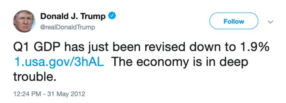 Donald Trump tweet about the economy
