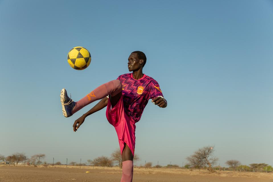 Photo of Kalobeyei resident in Kalobeyei Spirit away kit.