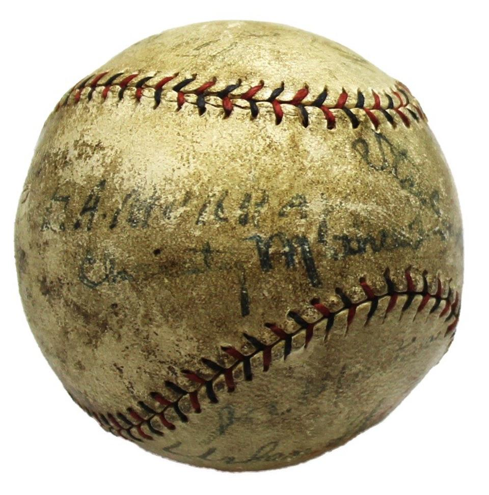 Mathewson died shortly after he signed this baseball.
