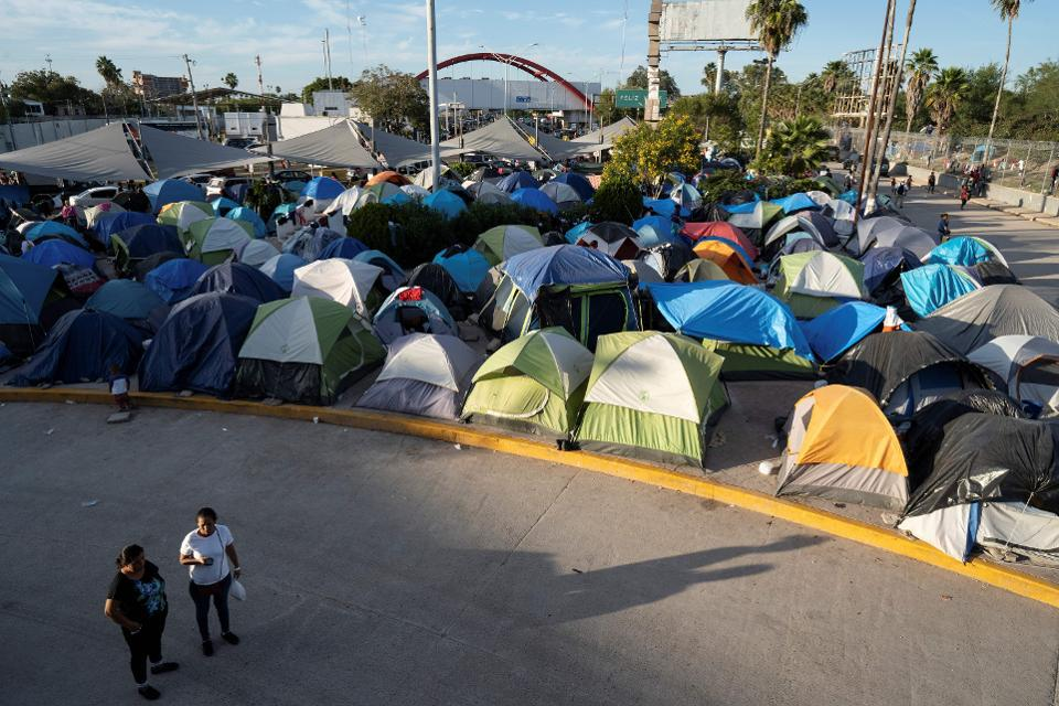View of a migrant camp near the U.S. border in Mexico.