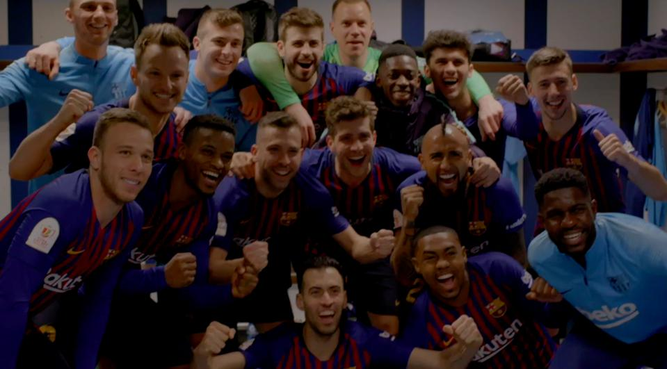 The team in happier times than those listed above after having just defeated bitter rivals Real Madrid at the Bernabeu.
