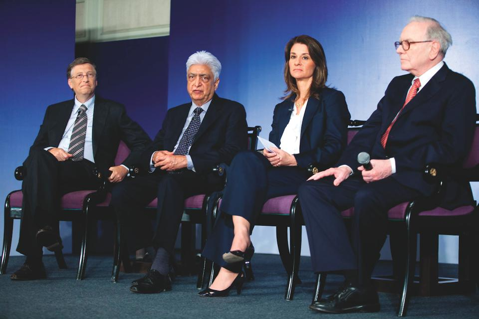 Bill Gates, Azim Premji, Melinda Gates and Warren Buffett in 2011