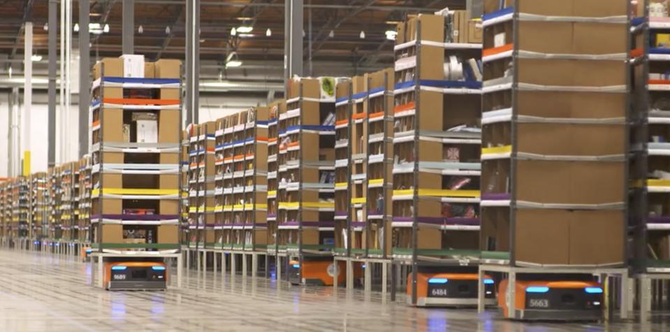 Kiva robots working the warehouse