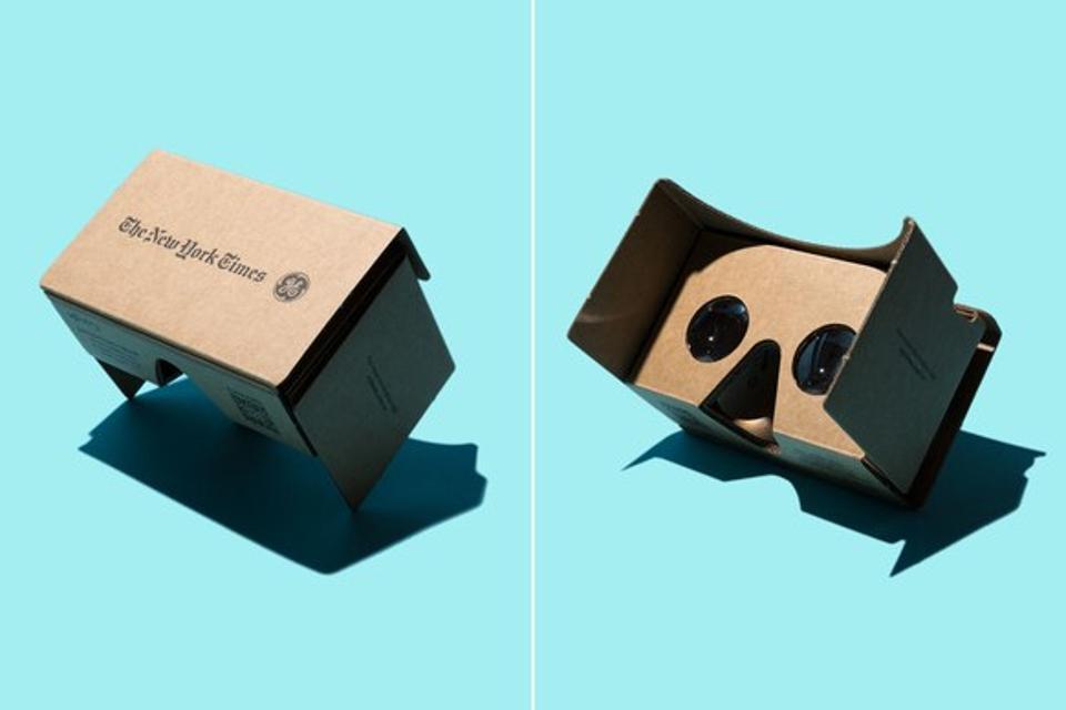 Google cardboard headset on blue background