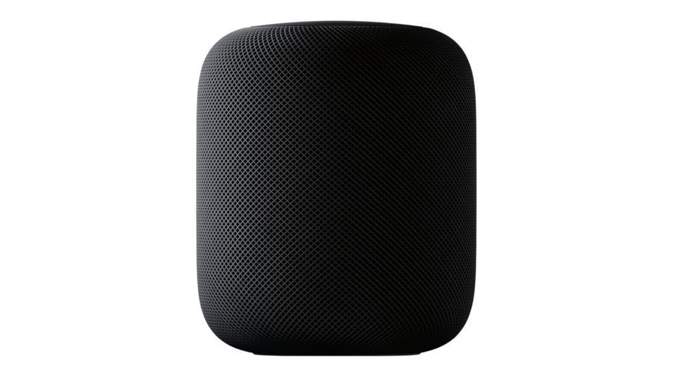 Gray Apple HomePod speaker on a white background.