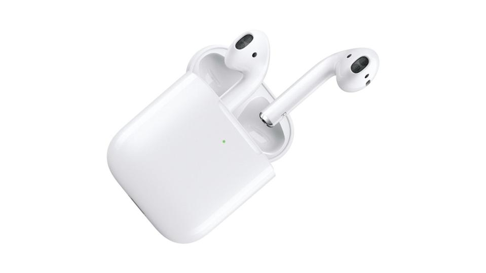White Apple AirPods on a white background.