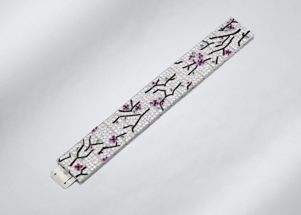 Art Deco diamond, enamel and gem-set picture bracelet