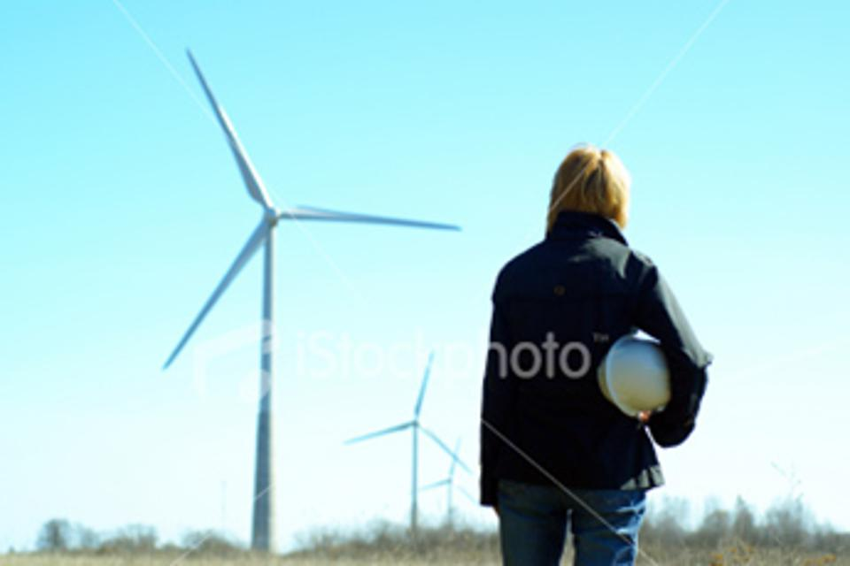 Woman with wind turbine, Pixaby