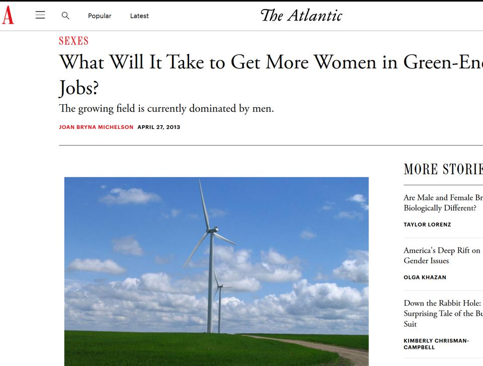 Screen shot of Joan Michelson article in TheAtlantic on women in energy