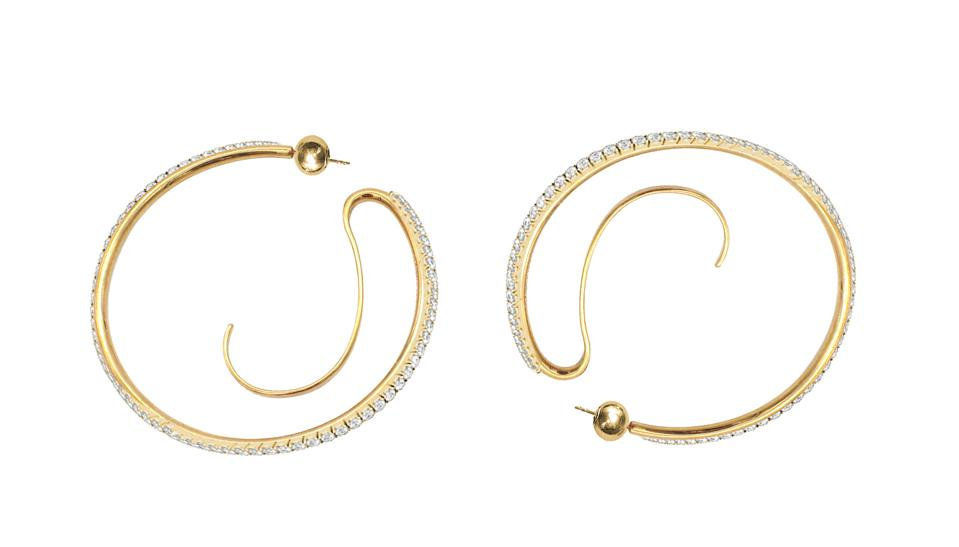Upside-Down hoops from the Constellation capsule collection with Net-a-Porter; sterling silver, gold plate and crystal.