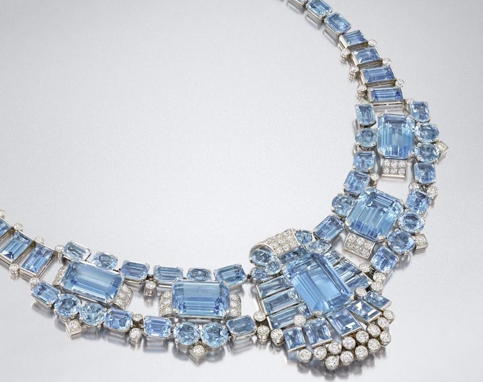 Art Deco aquamarine necklace