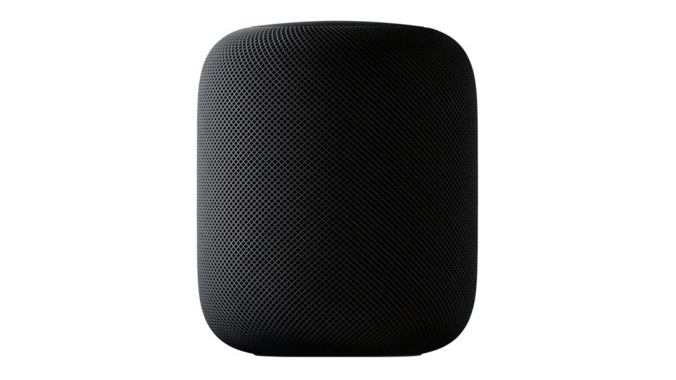 Gray Apple HomePod on a white background.
