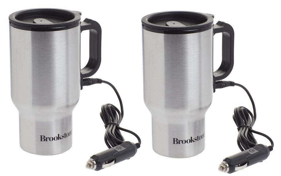 Brookstone Stainless Steel Heated Car Mugs from HSN