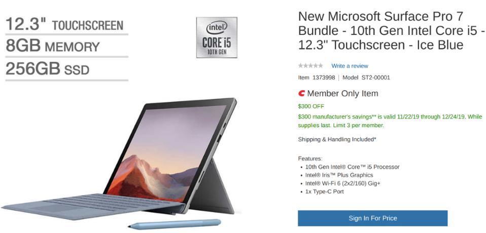 Costco's Black Friday Surface Pro 7 deals, Costco Black Friday laptop deals, Costco Cyber Monday laptop deals,