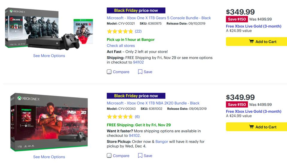 Best Buy Xbox One X deals, Best Buy PS4 Pro deals, Black Friday console deals, Cyber Monday console deals,