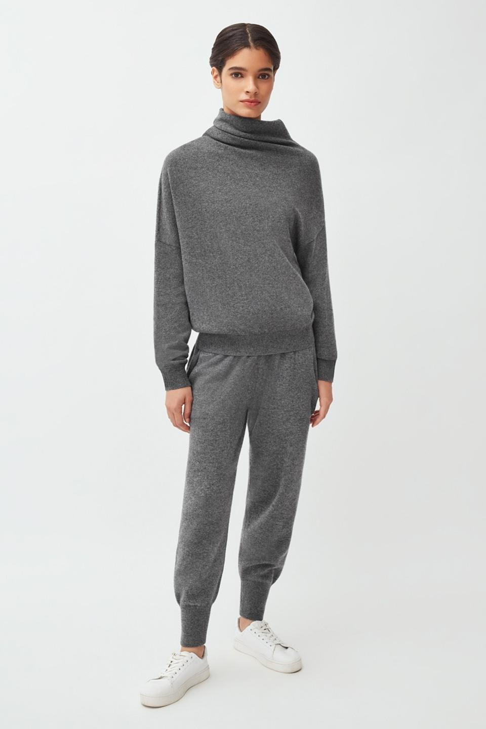 Charcoal cashmere set from Cuyana