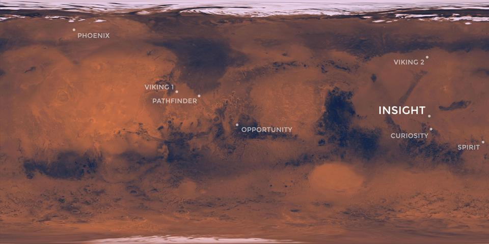 Map of Mars showing locations of NASA landers and rovers.