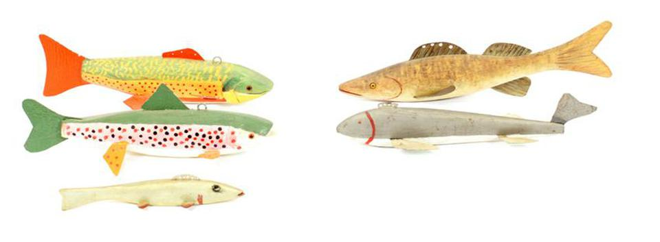 Hand-painted fishing lures and Folk Art fish