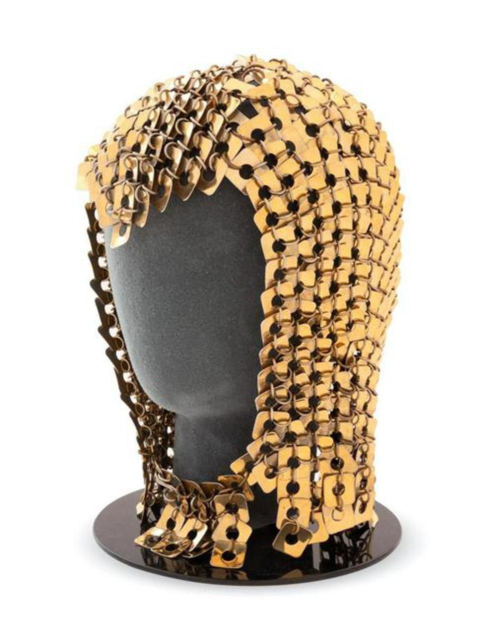 Paco Rabanne brass square chainmail hood