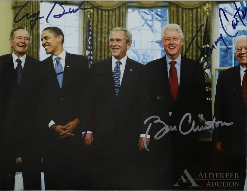 Autographed photo of five presidents
