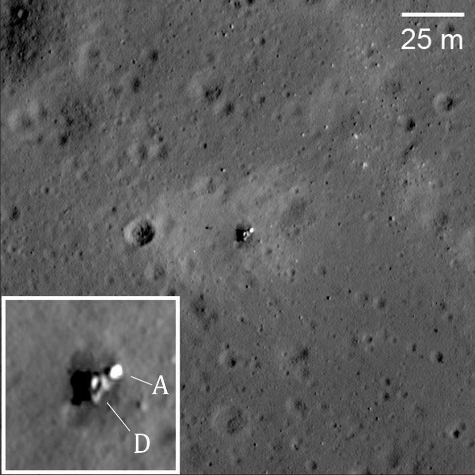 Black and white satellite photo of a lunar lander crash site.